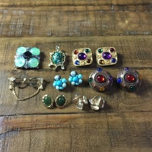 Vintage jewelry bundle 5 earring sets 3 broaches